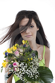 Beauty With A Bunch Of Flowers Stock Photo - Image: 15236740