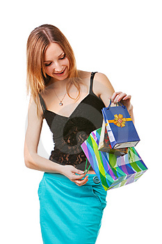 Beautiful Young Lady With Gifts Royalty Free Stock Image - Image: 15236896