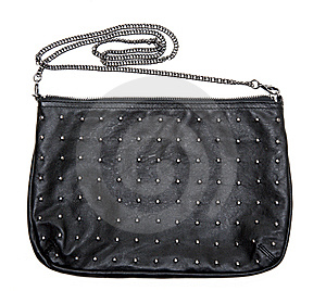 Black Leather Feminine Bag With Chain Royalty Free Stock Photo - Image: 15239065