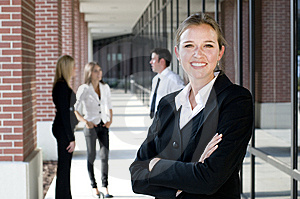 Attractive Businesswoman With Arms Crossed Stock Photo - Image: 15239090