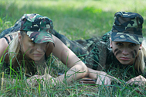 Girls In Military Form Royalty Free Stock Photography - Image: 15239817