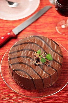 Chocolate Glazed Nut Cake Stock Photos - Image: 15243513