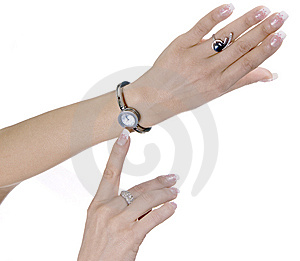 Female Hands With Hours And Rings Stock Image - Image: 15251391