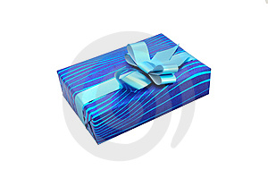 Gift With Blue Bow Royalty Free Stock Photography - Image: 15252157