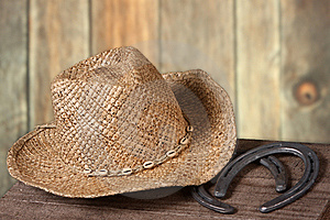 Western Scene With Cowboy Hat And Horseshoes Royalty Free Stock Photography - Image: 15252307
