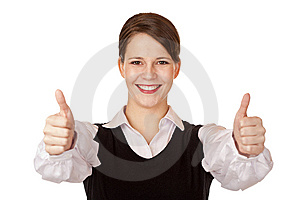 Attractive Businesswoman Shows Both Thumbs Up Stock Photos - Image: 15252853
