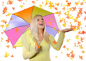 Portrait Of Pretty Autumn Woman Under Umbrella Royalty Free Stock Photos - Image: 15253878