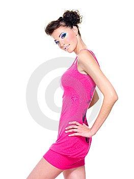 Beautiful Woman Posing In Pink Dress Stock Image - Image: 15256061