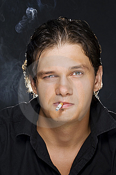 Man Smoking A Cigarette Royalty Free Stock Photo - Image: 15256665