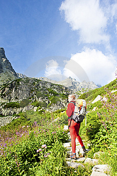 Woman Backpacker In High Tatras Royalty Free Stock Photos - Image: 15258058