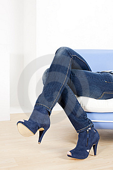 Woman Wearing Blue Shoes Royalty Free Stock Images - Image: 15258089