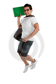 Jumping Student Holding Book Stock Photos - Image: 15259693