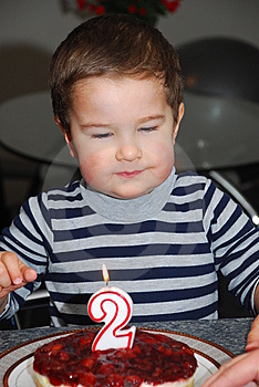 Little Boy With Birthday Cake Stock Image - Image: 15259741