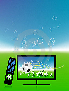 Football Match  On Tv Sports Channel Stock Image - Image: 15259761