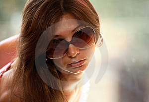 Portrait Of Young Woman With Sunglasses Stock Photo - Image: 15268680