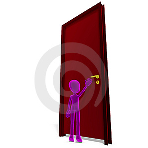 Symbolic 3d Child Toon Character Opens The Door Royalty Free Stock Image - Image: 15270366