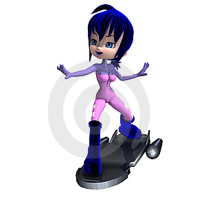 Cute Cartoon Astronaut With Blue Hair And Boots Stock Photography - Image: 15270392