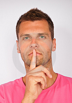 Young Man Shows Silence Royalty Free Stock Image - Image: 15270926