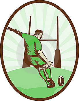 Rugby Player Kicking Ball Stock Photo - Image: 15272190