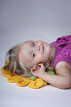 Girl On Yellow Pillow Stock Images - Image: 15274324