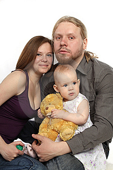 Joyful Family: Father, Mother, Baby Royalty Free Stock Images - Image: 15276599