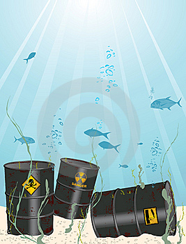 Oil And Chemical Barrel Into The Sea Stock Images - Image: 15277154