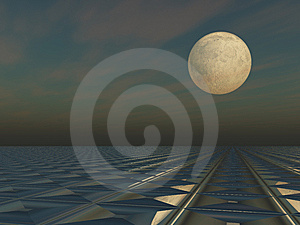 Moon Cloud Grid Scape Stock Images - Image: 15281874