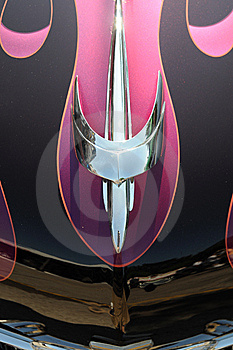 Chrome Hood Ornament On A Customized  Roadster Stock Image - Image: 15283091