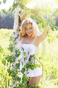 Beautiful Girl Near Birch Royalty Free Stock Image - Image: 15289666