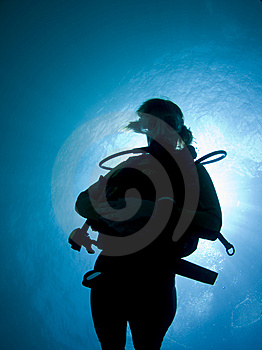 Silhouette Of A Diver Royalty Free Stock Photos - Image: 15290148