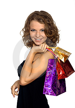 The Girl With Gift Packages Royalty Free Stock Images - Image: 15292219