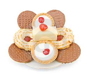 Plate With Sweets And Cookies Royalty Free Stock Photos - Image: 15298268