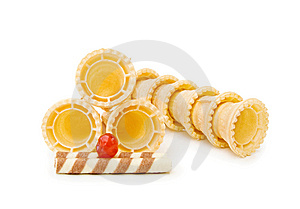 Ice Cream Cones With Cherry And Waffle Stock Photo - Image: 15298290