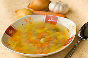 Soup With Mixed Vegetable , Carrot , Potato , Pars Royalty Free Stock Image - Image: 15298706
