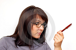 Businesswoman With Pen #6 Royalty Free Stock Image - Image: 1530576