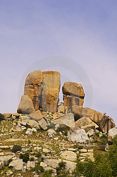 Low Angle View Of Rock Formations On Top Of A Hill Royalty Free Stock Photography - Image: 1534297