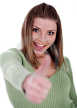Smiling Beautiful Girl Showing Her Thumps Up Royalty Free Stock Images - Image: 15300229