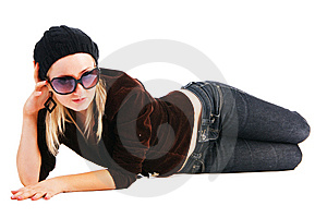 Beautiful Young Elegance Girl In Jacket On Floor Stock Image - Image: 15302401