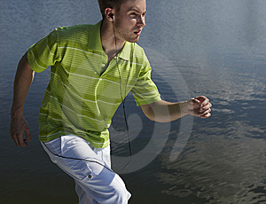 Cheerful Guy In A Green Vest. Stock Image - Image: 15306121