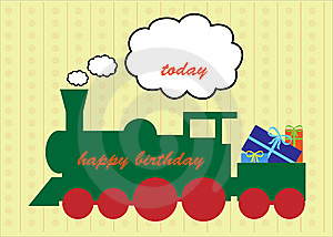 Happy Birthday Train Greeting Card Stock Photo - Image: 15309500