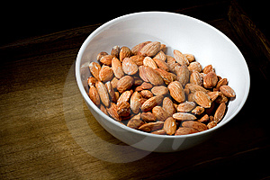 Almonds In White Bowl Royalty Free Stock Photography - Image: 15313037