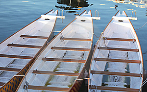 Three Paddle Boats In A Row At A Dock Stock Image - Image: 15313671