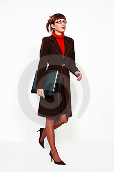 Woman Walking With Lap Top Computer Royalty Free Stock Photos - Image: 15320658