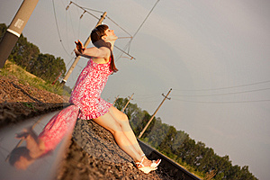 Girl On The Rails Royalty Free Stock Photos - Image: 15327458