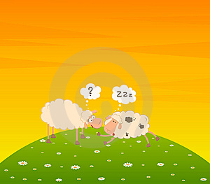 Cartoon Sheep Sleeps On A Grass Stock Photos - Image: 15330913