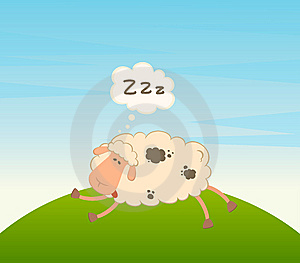 Cartoon Sheep Sleeps On A Grass Stock Images - Image: 15330914