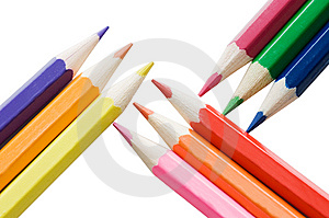 Colour Pencils Isolated Over White Royalty Free Stock Photo - Image: 15334055