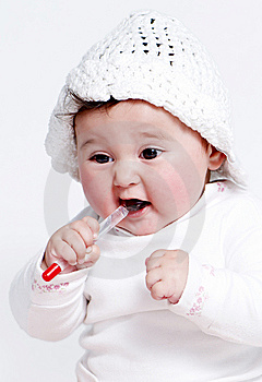 Little Girl A On White Background Royalty Free Stock Images - Image: 15341459