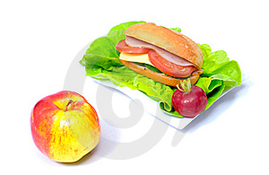 Big Sandwich And A Ripen Apple Stock Images - Image: 15341684