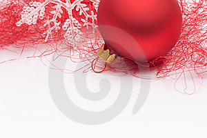Red Christmas Bauble And Snowflake Royalty Free Stock Images - Image: 15344559